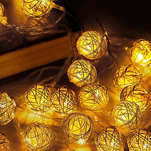 Catena Luminosa, Lecone 4M 20 LED Luci Stringa LED a Batteria per feste di matrimonio, di Natale, Parete della stanza dei bambini per Interni ed esterni Rattan metallo a forma di palla, bianco caldo