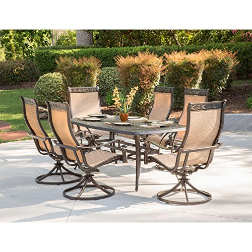 Hanover MANDN7PCSW-6 Chairs and Rectangle Cast Aluminum Table, Brushed Bronz Manor 7-Piece Outdoor Patio Dining Set, 6 Sling Swivel Rocker, Tan