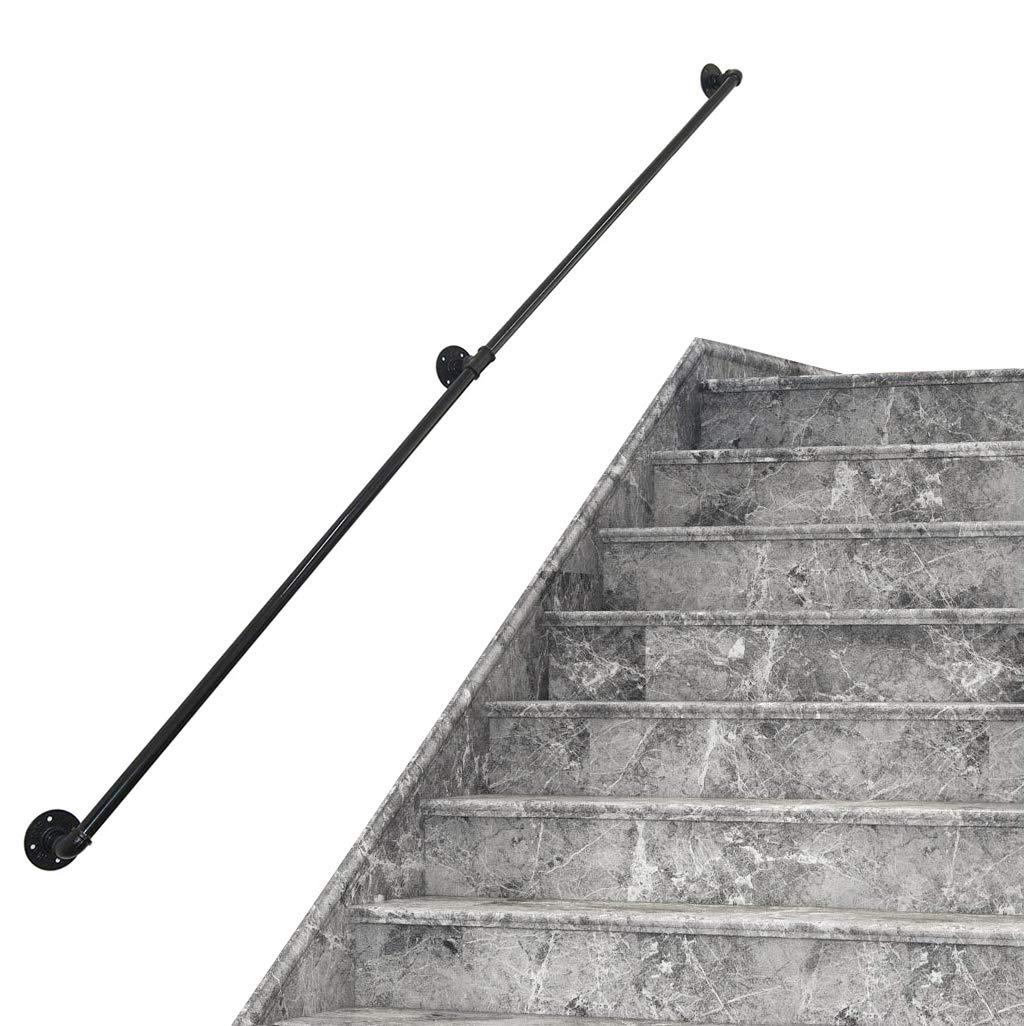 JUN-Pasamanos Barandillas for escaleras, decoración Barandilla de Escalera de Hierro Forjado Negro Mate, barandilla de 1~10 pies, Montaje en Pared, diámetro rústico de 32 mm, barandilla: Amazon.es: Hogar