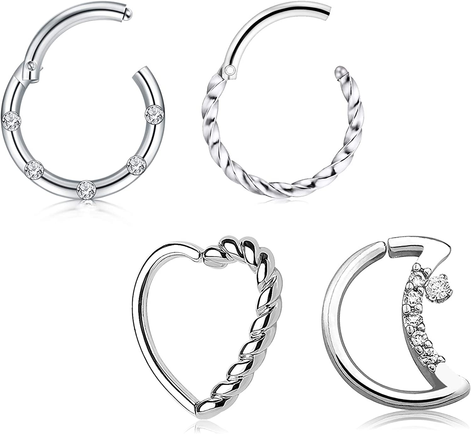 Briana Williams 16G Heart Moon Daith Piercing Jewelry Stainless Steel Tragus Helix Cartilage Daith Earring Clicker Rings Captive Bead Horseshoe Hoop Earrings for Women Men
