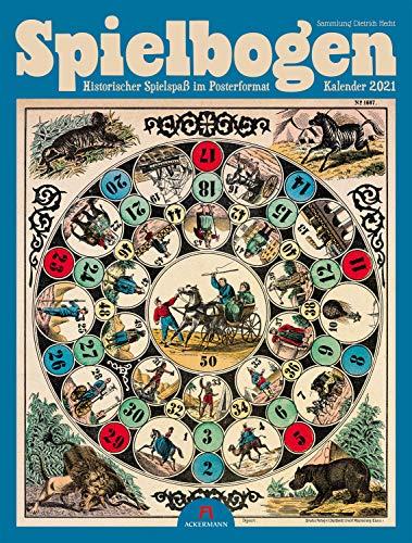 Spielbogen Kalender 2021 - Historischer Spielspaß, Wandkalender auf Naturpapier im Hochformat (50x66 cm) - Retro-Kalender für Spieleliebhaber