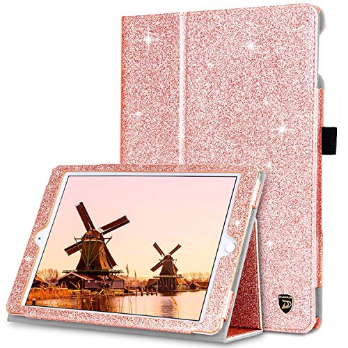 DUEDUE Case for iPad Air 2/iPad 9.7 2017/2018/iPad Air, Sparkly Glitter Bling PU Leather Shockproof Folio Stand Auto Sleep/Wake Full Protective Cover for iPad 6th, 5th Generation/iPad Air, Rose Gold