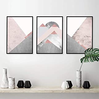 LSSJLUH Set of 3 Posters and Prints Blush Pink Grey Wall Art Abstract Canvas Painting Poster Wall Decor