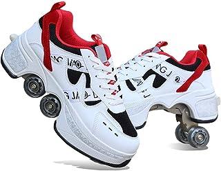 2-in-1 Multifunctionele Rolschaatsen 4-wiel Verstelbare Rolschoenen Skate Schoenen Voor Dames Heren, Wielschoenen Roller S...
