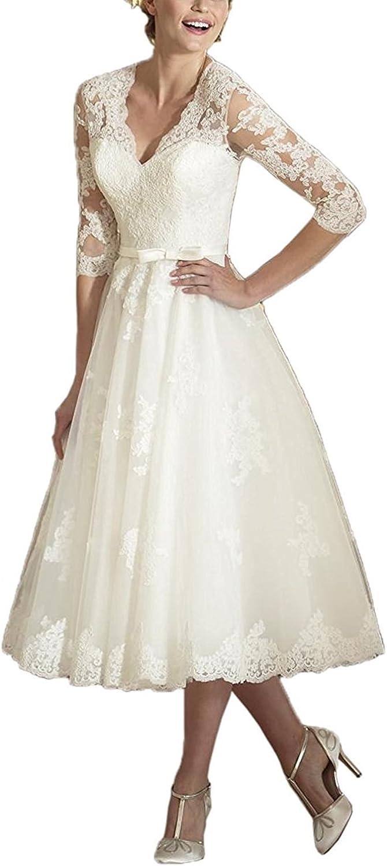 Jdress Women's Vintage V Neck Long Sleeves Tea Length Short Wedding Dress