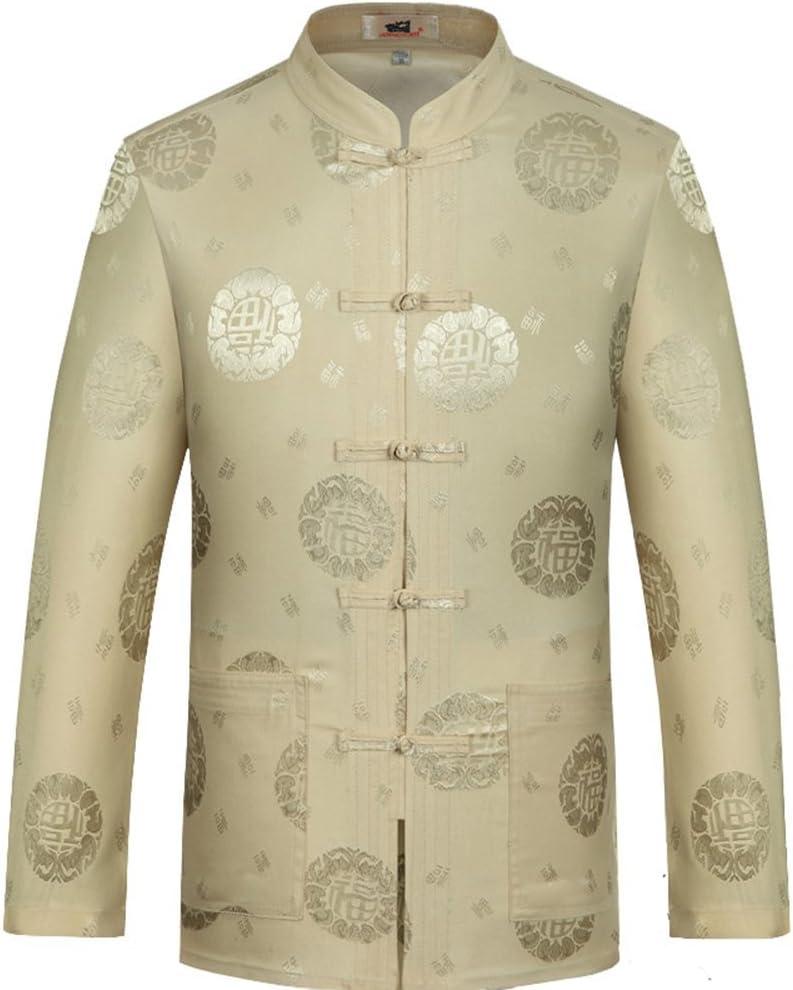 ZooBoo Chinese Traditional Long Sleeve Tang Kung Fu Uniform Men's Shirt