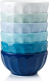 Sweese 106.003 Porcelain Fluted Bowl Set - 26 Ounce for Cereal, Soup - Set of 6, Cool Assorted Colors