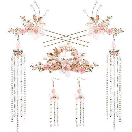 2 lot Womens Flower Pearls Hairpin Retro Hair Comb Traditional Tassel Hair Decor