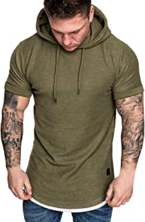 Teresamoon-Shirt Fashion Men's Slim Fit Casual Pattern Large Size Short Sleeve Hoodie Top Blouse