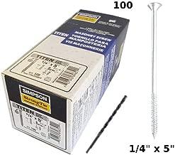 "Concrete Screws 1/4""x 5"" Silver Tapcon Zinc-Plated Simpson Strong-Tie TTNW25600PF ""TITEN"" W/Drill bit 100/Box"