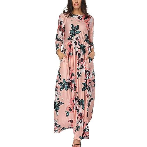 Vetements Casual Feelingirl Robe Jupe Femme Robe Ete Taille Haute Poche Longue Imprime Chic Elegant Charmant S Xxl
