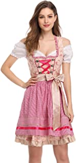 Women's German Dirndl Dress Costumes for Bavarian Oktoberfest Carnival Halloween