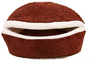 A Smile Warm Cat Bed Dog House Hamburger Bed Disassem Blability Windproof Pet Mat Puppy Nest Shell Hiding Burger Bun for Winter