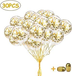 SPECOOL Globos de Confeti Dorado, 30pcs Globos de látex de 12 Pulgadas con Dos Cintas, Globos de Fiesta para Bodas Ducha Nupcial Fiesta de cumpleaños Fiesta de Oro Rosa Decoraciones para Fiestas