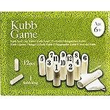 DRULINE Kubb Wikingerspiel Wurfspiel Spiel XXL aus naturbelassenes Holz Outdoorspiel