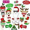 フォトプロップス クリスマス 撮影小道具 パーテイー小物 フォトプロップス クリスマス用 変装 写真撮影小道具 披露宴/結婚式/誕生日 パーティー用 宴会用 手軽にインスタ映え 雰囲気 盛り上げグッズ ト スティック/のり付け 32点セット