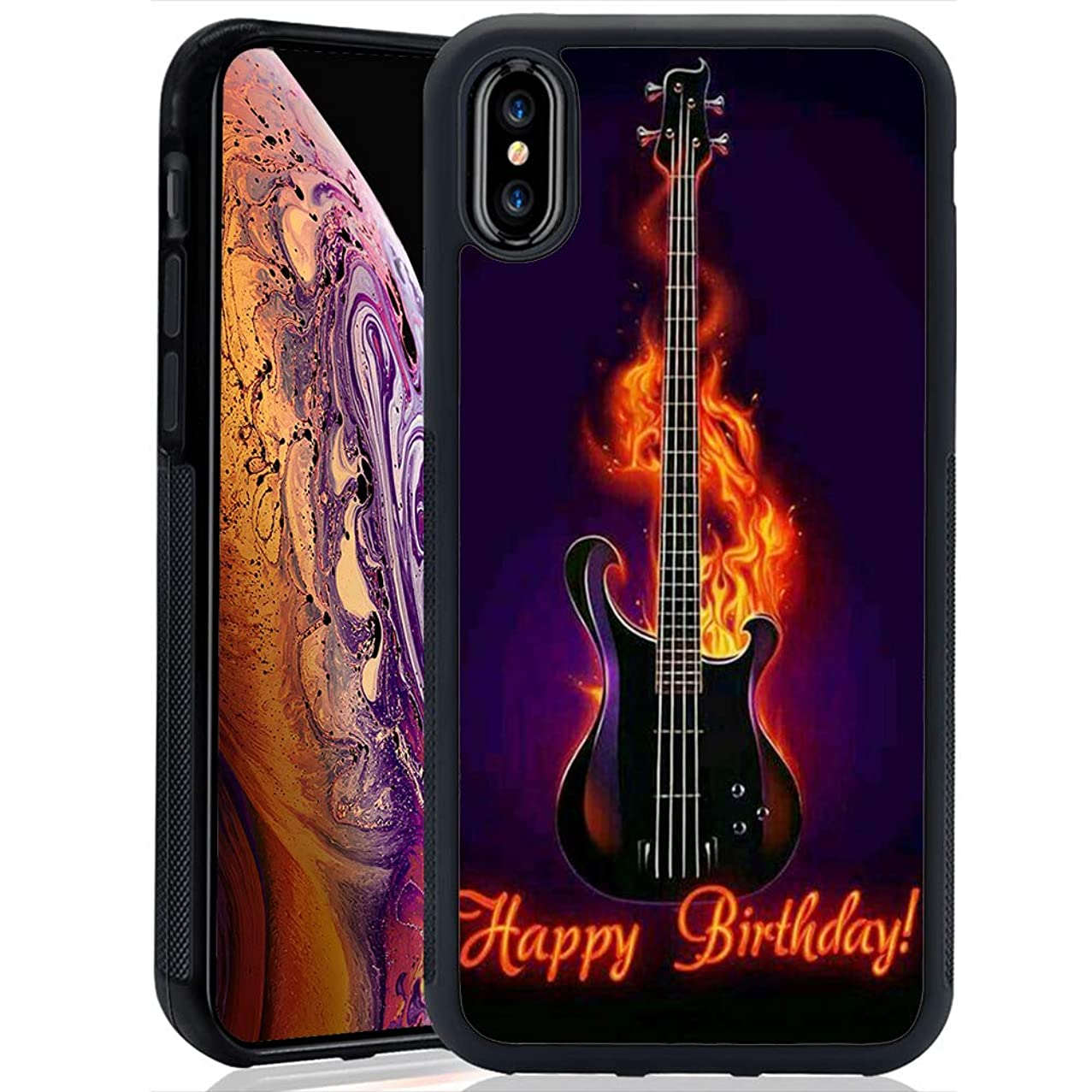 iPhone Xs Max Case Guitar PC and TPU Shockproof Slim Anti-Scratch Protective Dual Layer Rugged Case Non-Slip Grip Case for iPhone Xs Max
