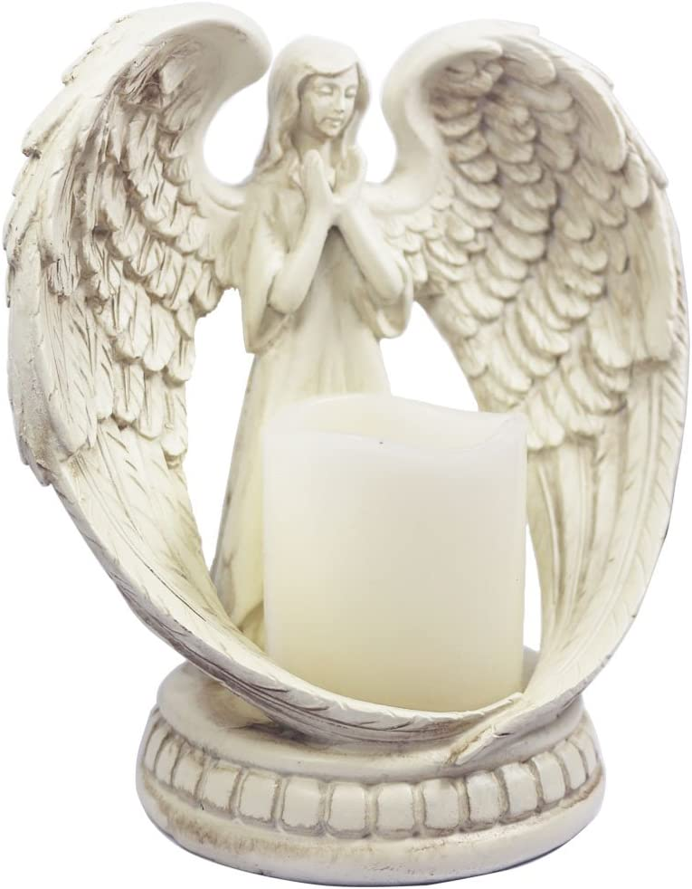 mementoy Praying Angel Candle Holder Glass Angel Statue Angel Figurine Angel Ornament