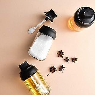 SPNEC 8 oz Condiments Container Assaisonnement Coffret de 2 Spice Jars Sel Sucre Verre Condiments Pots Transparent Contene...