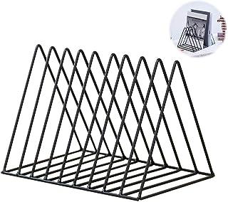 Magazine Rack Book Record Holder, Desktop Iron Storage Rack Bookshelf Multifunction Triangle File Organizer Decor Home Office (Black)