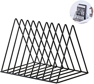 Magazine Rack Book Record Holder, Desktop Iron Storage Rack Bookshelf Multifunction Triangle File Organizer Decor Home Office (Black)