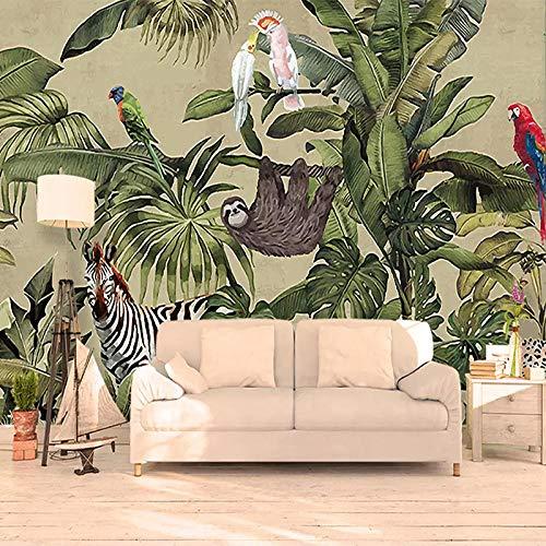 Custom 3D Foto Behang Tropische Regenwoud Vogel Palmbladeren Woonkamer Tv Achtergrond Muurschildering Vliesbehang Muurschilderingen,300 * 210Cm