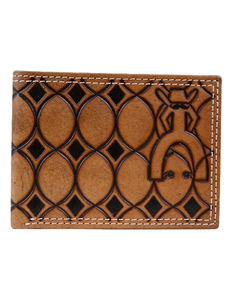 密接にボーカルはさみPunchy by Hooey Chestnut幾何Tooledパターン二つ折り財布( 1704161?W2?)