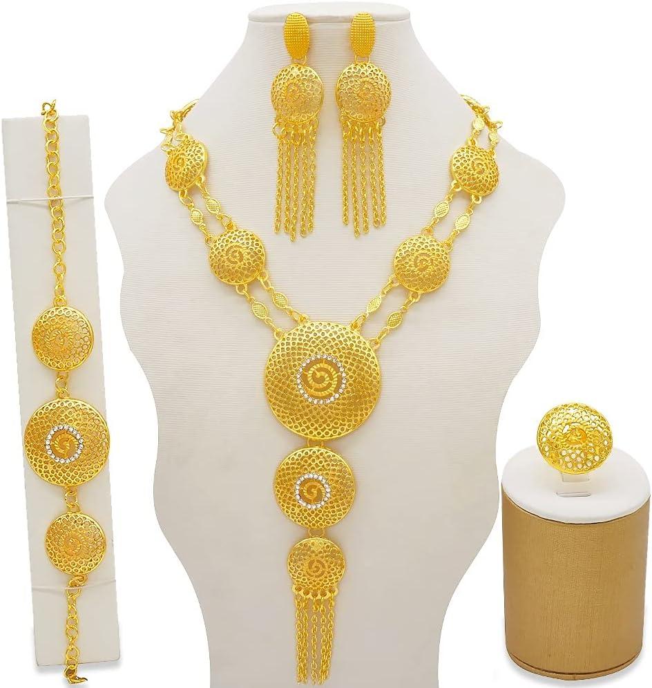 KTAIS Dubai Gold African Indian Ethiopia Bridal Wedding Gifts for Women Necklace Bracelet Earrings Ring Set (Metal Color : BJ843)