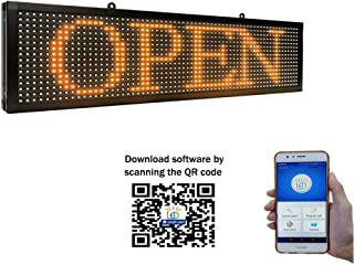 P10 led Single Color Sign 26''x8'' with WiFi Connection Scrolling Message led Sign for Business Programmable Display Message Rolling (Yellow)