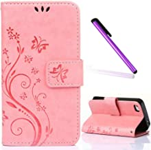 iPhone 4 Case,iPhone 4S Case,EMAXELER Stylish Wallet Embossing Case [Kickstand Flip Case][Credit Cards Slot][Cash Pockets] Cool PU Leather Flip Wallet Case For iPhone 4/4S Color Pink