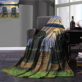 Seaside Baby Blanket Two Wooden Chairs on Relaxing Lakeside at Sunset Algonquin Provincial Park Canada Portable Car Travel Cover Blanket Throw Size Navy Green 30x50 Inch