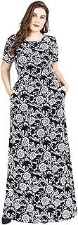 Women's Short Sleeve Maxi Dress Casual Loose Printing Elegant Swing Dresses Simple (Color : Black, Size : 4XL)
