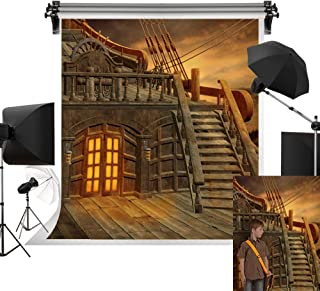Kate 5x7ft/1.5m(W) x2.2m(H) Halloween Backdrop Pirate Ship Background Wooden Floor Creepy Halloween Party Decoration