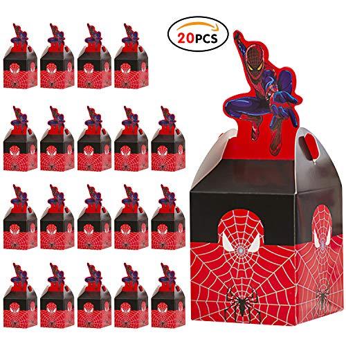 Qemsele Party-Schachteln Partytüten 20 Stück, Kinder Mitgebsel Kindergeburtstag Gastgeschenke Tüten Tasche, Kordelzug Rucksack Bag Turnbeutel für Mädchen Kostümparty, Geburtstagsfeier (Spiderman)