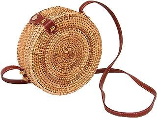 Rattan Bags for Women Straw Bag Beach with Shoulder Straps Lined Boho Handbag