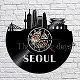 wtnhz LED-Seoul Skyline Art Deco Wanduhr Modernes Design Südkorea Hauptstadt View Vinyl Record...