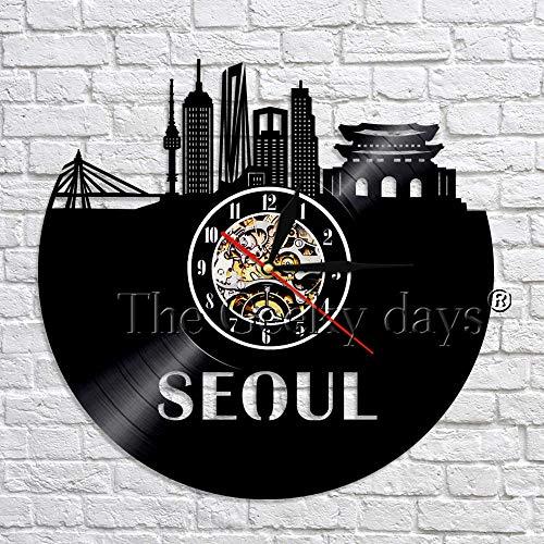 UIOLK Reloj de Pared Art Deco con diseño de Ciudad Capital Coreana, Reloj de Pared con Disco de Vinilo, Regalo de Viaje único