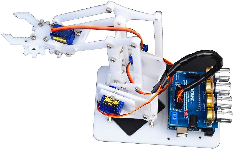 MagiDeal Acrylic DIY 4Dof Mechanical Robot Arm Manipulator Kits with 4 PCS Servos for Arduino Learning Kits