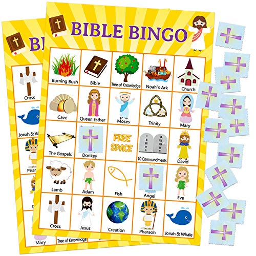 Fancy Land Bible Bingo Game for Vacation Bible School 24 Players for Kids Christian Sunday Church