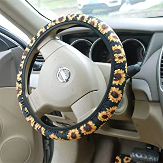 Bling Buy Handmade Sunflower Steering Wheel Cover- BL Stretch-on Fabric Steering Wheel Cover Universal Fit