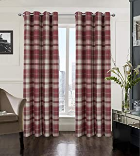 Alexandra Cole Plaid Farmhouse Curtains for Living Room Bedroom Tartan Grommet Window Treatments 2 Panels 54x63 Red