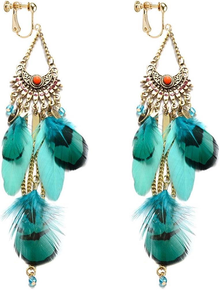 Dangle Earring Clip on Screw Back Feather Vintage Long Tassel Large Drop for Women Fashion Jewelry Blue