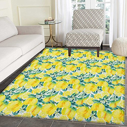 Modern Area Rug Carpet Watercolor Paintbrush Stylized Lemons with Murky Hazy Effects Artful Image Living Dining Room Bedroom Hallway Office Carpet 5'x6' Forest Green Yellow