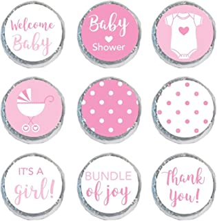 Mini Candy Stickers Baby Shower Favors Set of 324 (Light Pink)