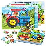 ZWOOS Rompecabezas de Madera,4 en 1Juguete Montessori Puzzles Infantiles...