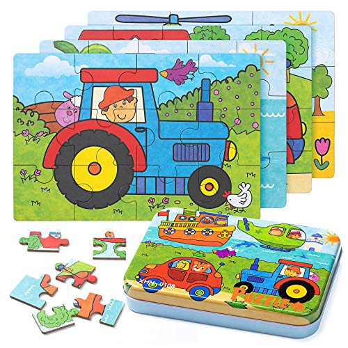 ZWOOS Rompecabezas de Madera,4 en 1Juguete Montessori Puzz