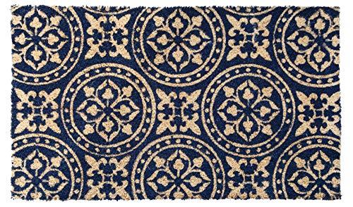 Lako Cocoprint Colori Fußmatte, Kokos, 531 Grafik Ornamente dunkelblau, 75 x 45 x 1,5