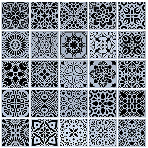 25-Pack (4x4 Inch) Painting Drawing Stencils...