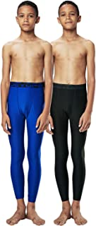 Boys 2 Packs Compression Cool Dry Tights Baselayer Running Active Leggings Pants