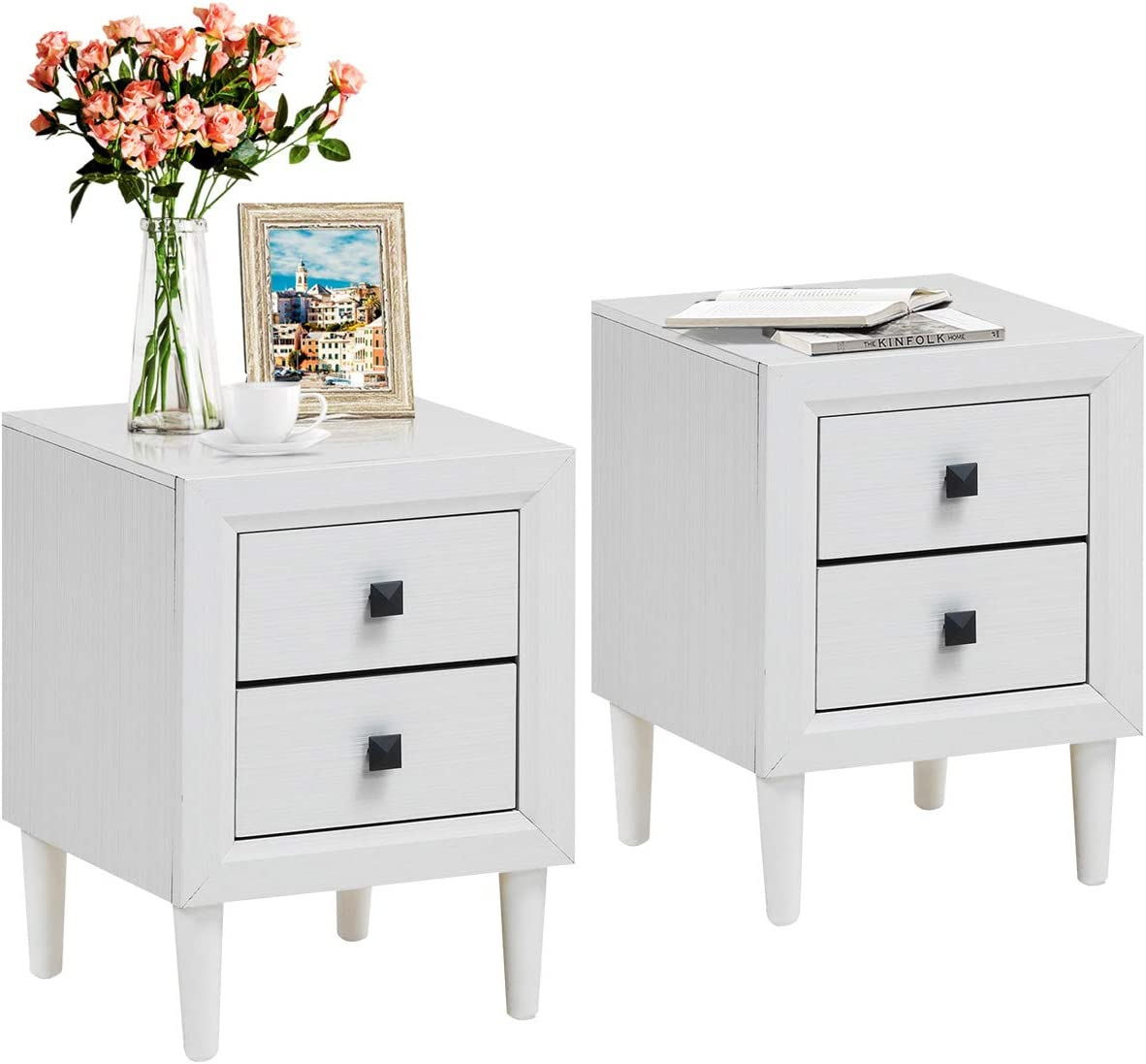 San Diego Mall Giantex Nightstand Wooden W Two and Drawers Handles Wate Storage Max 80% OFF